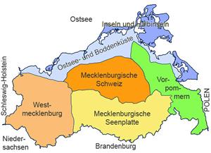 Karte der Landschaftsregionen von Mecklenburg-Vorpommern